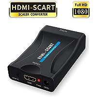 HDMI a Scart,GANA HDMI a Euroconector Conversor HDMI to Scart Convertidor de Video Audio Adaptador de señal para CRT TV, VHS VCR, DVD Recorder etc