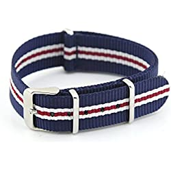 Owfeel Blue-white Nylon Watch Band Strap Replacement Watch Belt 20mm