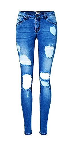 Angcoco Women's Ripped Low Waisted Skinny Jeans #0132