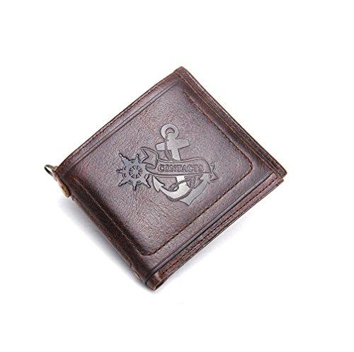 HYSENM Herren Geldbörse Ledergeldbörse Portemonnaie Echt Leder mit Reißverschluss Querformat/Hochformat klein flach Anker, Anker 1