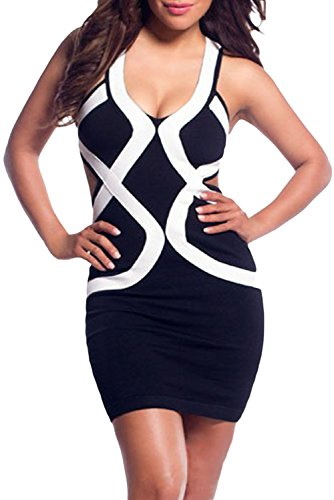 E-Girl femme Noir SY21575-2 robe moulante Noir