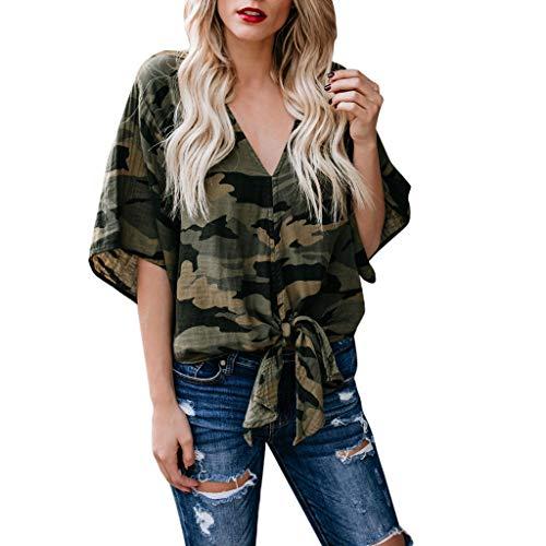 Shirt Damen V-Ausschnitt Tarnen T-Shirt Sommer Kurzarm Tunika Baumwolle Print blusen lose Camouflage Tops elegant Pullover Shirt sexy Streetwear Sale lose T-Shirt (Tarnen, s)