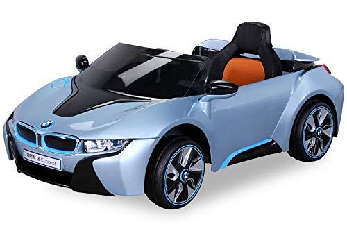 NEU Kinder Elektroauto Lizenzierter Original BMW I8 mit 2 x 45 Watt Motor Elektro Kinderauto Kinderfahrzeug (Hellblaumetallik)