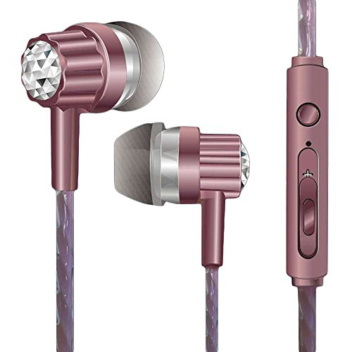 OHQ Auriculares EstéReo Intrauditivos De 3,5 Mm para Auriculares Universales con MicróFono para TeléFono Celular Auricular Bluetooth Cargador Linea De Datos (Rosa)