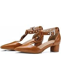 Damas de verano sandalias, t punto hebilla zapatos de tallas grandes, Baotou talón,brown,42