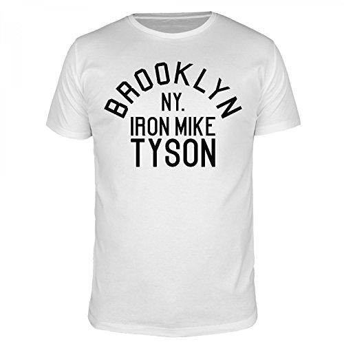 FABTEE - Brooklyn NY Iron Mike Tyson - Herren T-Shirt - verschiedene Farben - Größen S-5XL, Größe:L;Farbe:Weiß (T-shirt Mike Iron Tyson)