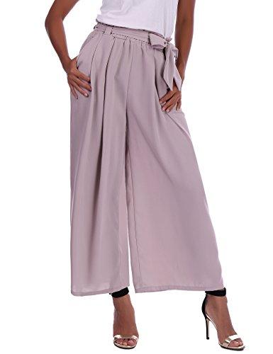 Abollria Damen Weite Hose Chiffon Paperbag Hose Casual Hosen Weite Bein Hohe Taille mit breiter Gummibund und Gürtel (Chiffon Bein Breite Hosen)