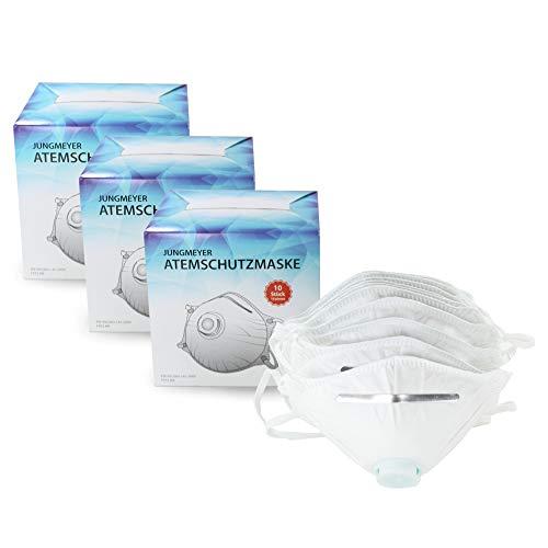 30x Atemschutzmaske mit Ventil | Staubmaske Schutzklasse gemäß Norm FFP2 EN 149:2001+A1:2009 Sicherheitsschranken | Mundschutz - perfekt anpassbar (Privat- oder Gewerbegebrauch geeignet) von JUNGMEYER