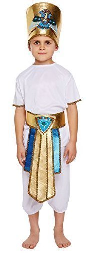 Pharao Geschichte Buch Tag Kostüm Verkleidung Outfit Alter 4-12 Jahre - Weiß, 10-12 years (Ägyptische Kostüme Geschichte)