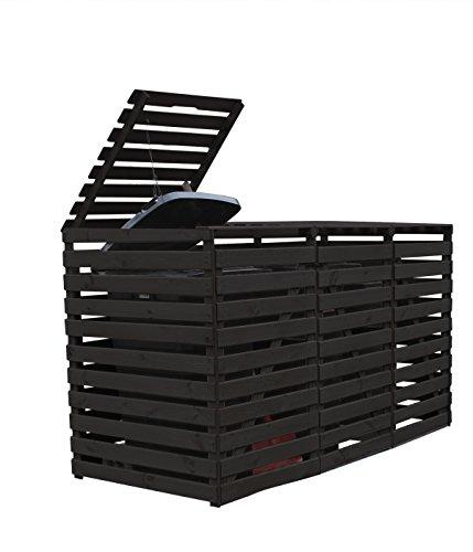 Mülltonnenbox Holz V, für drei 240 Liter Tonnen, Farbe Anthrazit