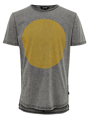 ONLY & SONS - Herren t-shirt mit frontprint 22005344 pauli fitted curved Anthracite