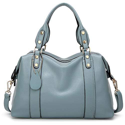 RMFGN Mittelgroße schwarze Boston Bag Frauen wasserdichte Umhängetasche Rindsleder Tote Handtasche Damen Single Strap Handtaschen,Blue-M - Single Strap Tote