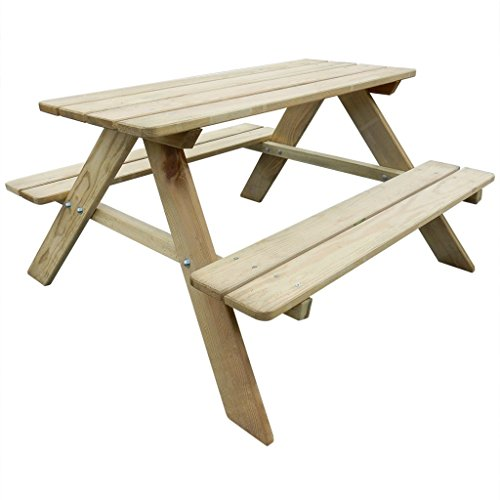 Anself Wooden Kid's Picnic Table Bench Garden Furniture 89 x 89.6 x 50.8 cm