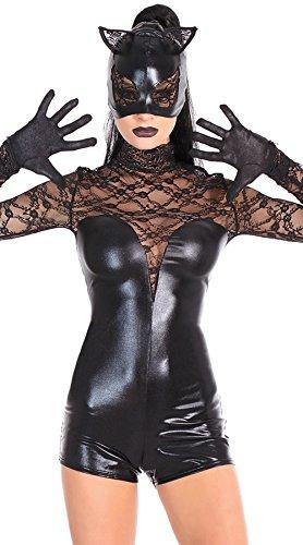 Encantes Maskierte Catwoman Cosplay KostüM Sexy Lackleder Overall