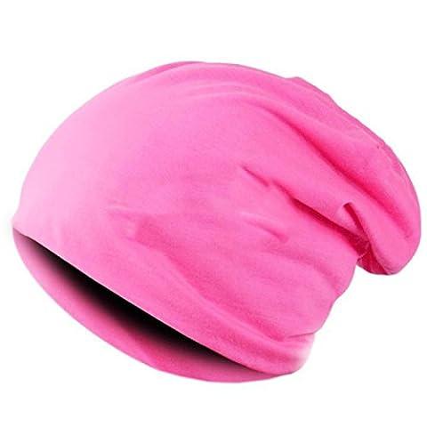Hommes Et Femmes Acrylique Monochrome Automne Et Hiver Hip Hop Tricoté Beanie Hat Extérieur étanche Au Vent élastique Slouch Stretch Cap,Pink-OneSize