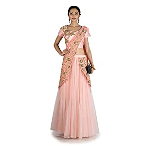 Anju Agarwal Women's Raw Silk Lahenga Choli (LGA359, pink,40)