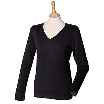 Henbury-Maglione con collo a V, da donna, leggera H721 M, colore: nero