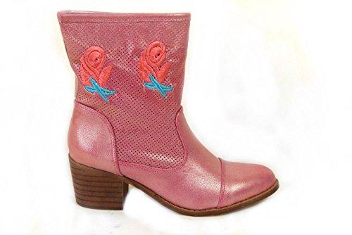 NEW Femme Mesdames cheville Cowboy avec talon bloc Basse Pixie Enterrement Fancy Dress Party bottes chaussures taille 345678 Pink (995-5)