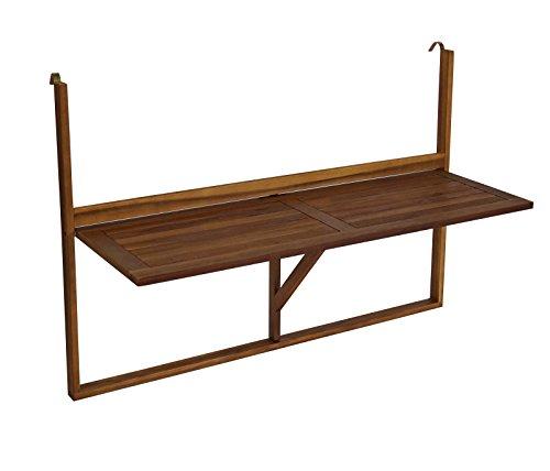 Balkonhängetisch 120x40cm klappbar, grosse Ausführung, Akazienholz, FSC®-zertifiziert