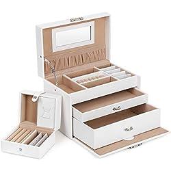 SONGMICS Boîte à bijoux 3 niveaux, Coffret à bijoux avec petite boîte voyage, Blanc JBC126W