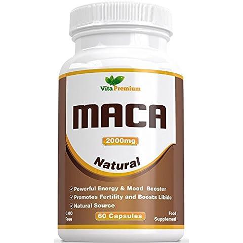 Cápsulas de Raíz de Maca 2000 mg – Extracto de Alta Potencia, 60 Cápsulas Vegetarianas, Maca Vita Premium – Potenciador de Energía y del ánimo, Puede Ayudar a Favorecer la Fertilidad y Aumentar la Libido, Sienta la Diferencia o Solicite la Devolución de su Dinero