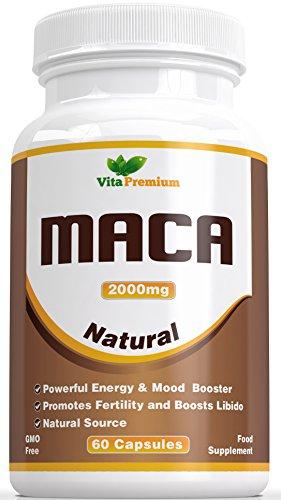 Gélules de Racine de Maca 2000mg - É, Extrait Hautement Puissant, 60 Gélules Végétariennes, Maca de Vita Premium - Stimulant Puissant en Termes D'énergie et D'humeur, Peut Aider à Favoriser la Fertilité et à Stimuler la Libido, Vous Sentez la Différence ou Vous êtes Remboursé