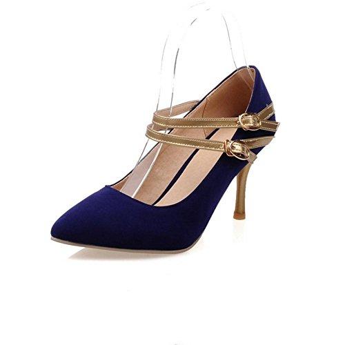 H H Frauen im Frühjahr und Herbst (rot.) Schwarz. (blau) Doppel-Schnalle Sanding mit High Heels Wear-resistent Non-Slip , blue , 41 (Sandale Schnalle Leder Doppel)