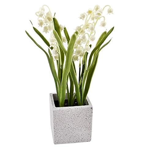 Pflanze Maiglöckchen Deko Kunstblume 22x6x6cm weiss grün Trend Floral Design