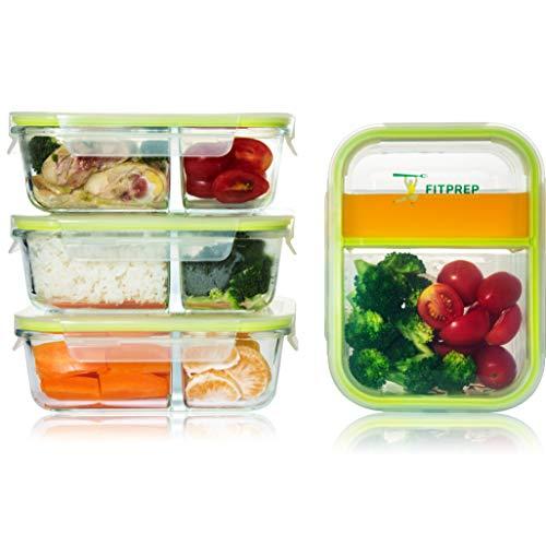 FITPREP® - Premium Glas Frischhaltedosen Set Meal Prep Container, 4 x 1000 ml, Besonderheit -> 2 Dichte und komplett voneinander getrennte Kammern, Glas -40 bis 520°C