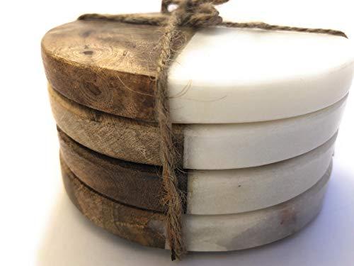 Untersetzer, rund, Marmor und Holz, Weiß, 4 Stück - Marmor-runde Untersetzer