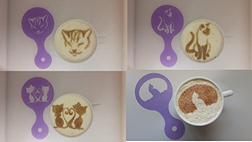 4-x-cat-picture-coffee-cup-cappuccino-stencils-reusable-many-times-present-gift-cafe