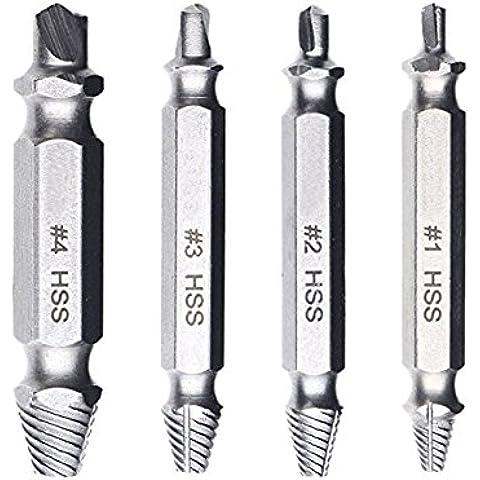 JTENG® extractor de tornillos velocidad de salida de 4 piezas de extractores de tornillos de perforación del taladro bits puestos de retirada de los tornillos rotos o dañados