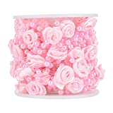 Rose Beaded Ribbons, 32.8ft / rotolo artificiale fatto a mano Rose Pearl Wire Beads nastro di tessuto per la casa e decorazione del giardino, ghirlanda di nozze, tenda in rilievo(pink)