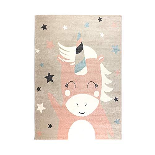 havatex Kinderteppich Einhorn 1 - Rosa & Pastelltöne   süßes Motiv mit Einhorn und Sternen  ...
