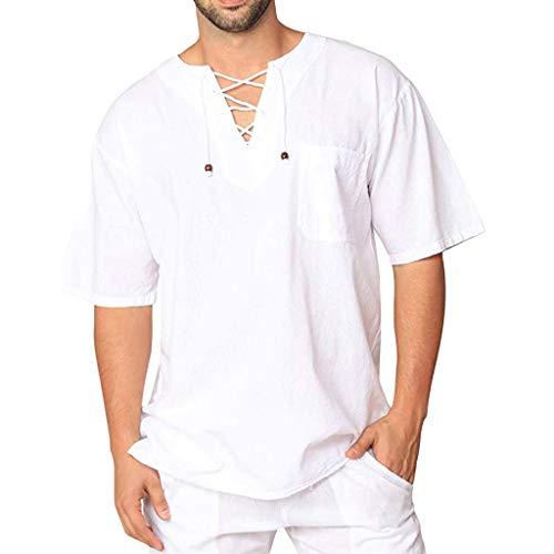 100% Hanf (ZEZKT Herren Hanf Hemden, Kurze Ärmel Shirts Männer Herren Top Frühling Sommer Herbst Vintage Casual Leinen Spitze Kurzarm T-Shirt Bluse, aus 100% Natur Hanf M-23XL)
