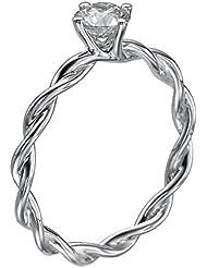 Diamant Ring 0.35 Ct W G/I1 Round 18 Karat (750) Weißgold (Ringgröße 48-63)