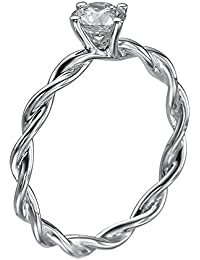 GIA Certified, Round Cut, Solitaire Diamond Ring in 14K Gold / White (1/3 ct, G Color, SI1 Clarity)