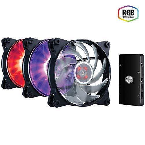 Cooler Master MasterFan Pro 120 Air Balance RGB Pack Gehäuselüfter 'MasterAccessory RGB Fan Controller, 3x MasterFan Pro 120 AB Lüfter, Unterstützt nicht-RGB-fähige Mainboards' MFY-B2DC-133PC-R1