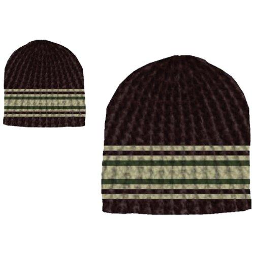 Black W/Stripes Crochet Beanie (Beanie Stripe Black)
