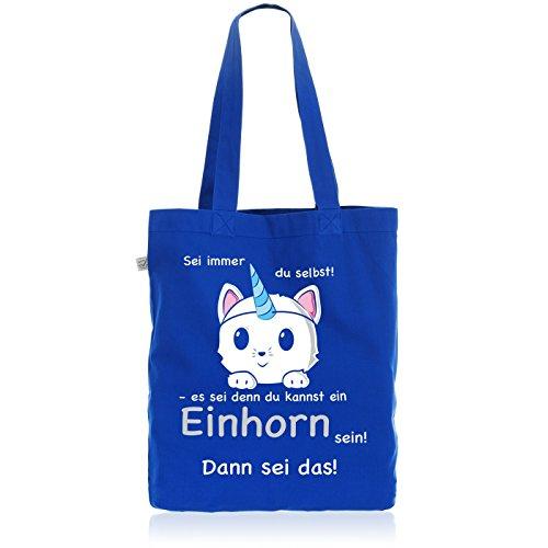 style3 Sei immer du selbst Einhorn Biobaumwolle Beutel Jutebeutel Tasche Tote Bag Katze Unicorn Kätzchen, Farbe:Blau (Tote Bag Kätzchen)