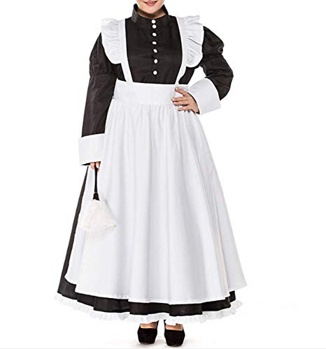 Mitef Large Size Women Pearl Line Coffee Shop Maid Loaded British COS Kleidung - Mehrfarbig - XXX-Large