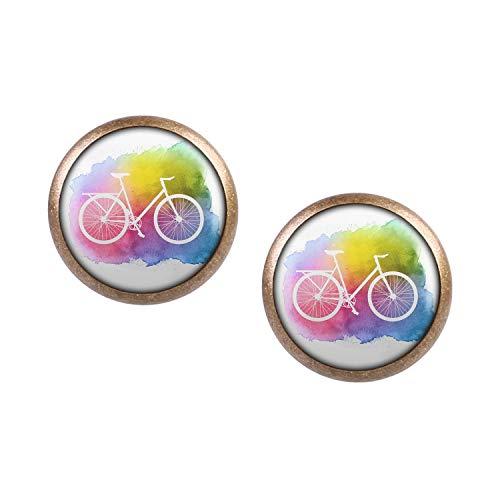 Mylery Ohrstecker Paar mit Motiv Fahrrad Retro Vintage Bunt Weiß Wasserfarbe bronze 12mm -