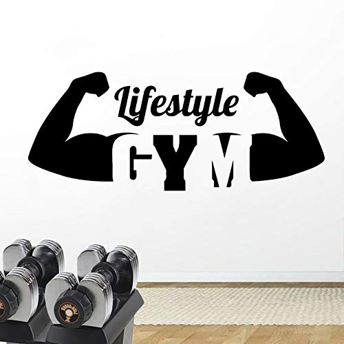 WWYJN Gym Lifestyle Wall Sticker Removable Vinyl Bodybuilding Wall Decal Fitness Club Decoration Lifestyle Logo Wall Murals  104x42cm