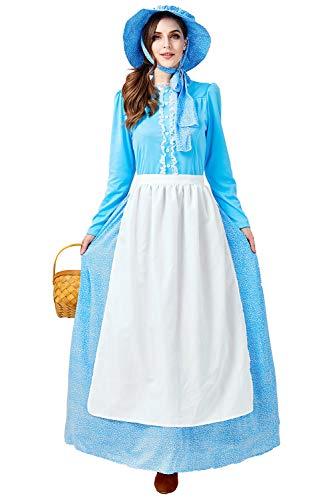 lonial Historische Kostüm, Damen Viktorianisch Pioneer Kolonial Bauer Kostüm Prairie Kleid Blau XL ()