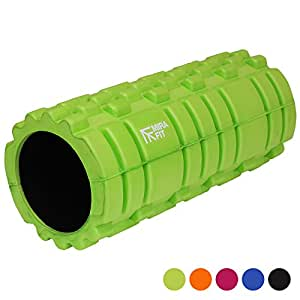 MiraFit Deluxe Hi-Density Foam Roller Sports Injury/Massage/Workout/Yoga/Pilates - Lime Green