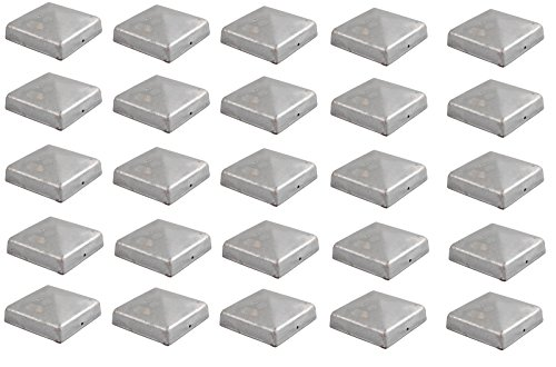 25x Pfostenkappe verzinkt 91 mm Pyramide Abdeckkappe für Pfosten 9 x 9 cm