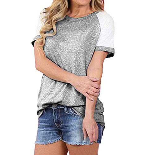 Lazzboy Damen Sommermode Kurzarmoberteile Farbblockierte Freizeitoberteile Damen Kurzarm T-Shirt V-Ausschnitt Casual Sommer Lose Shirt Oversize Oberteile(Grau,S) (Helix Leder Jacke)
