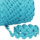 Zackenlitze, Mehrfarbig Punkte 12 mm / 12 mm, col.2002, türkis/weiß, 1m, 100% Polyester
