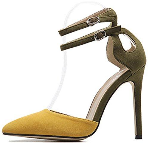 Oasap Damen Spitz Mit Schnalle Stiletto Pumps Yellow