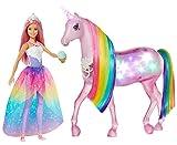 Barbie - Dreamptopia Muñeca con Pelo Rosa y su Unicornio Luces Mágicas (Mattel...